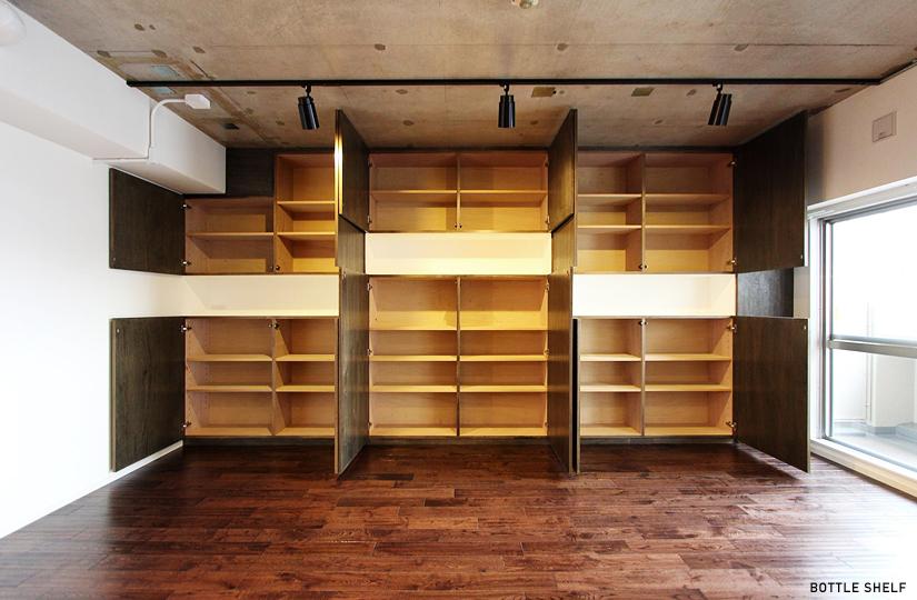 壁いっぱい × ボトルキープ|東京都リノベーションをリーズナブルに|nu【エヌユー】|東京都